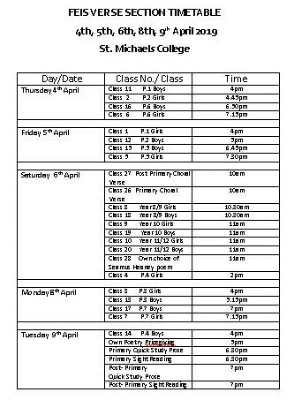 The Feis verse section timetable 2019