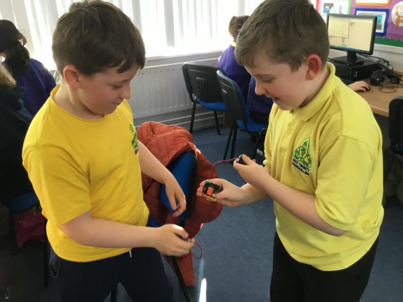 A digital version of 'Rock, paper, scissors' created by Fionn & Sean using Microbits in Code Club.