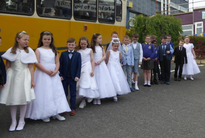 Children go to Mass on the Monday after their Holy Communion