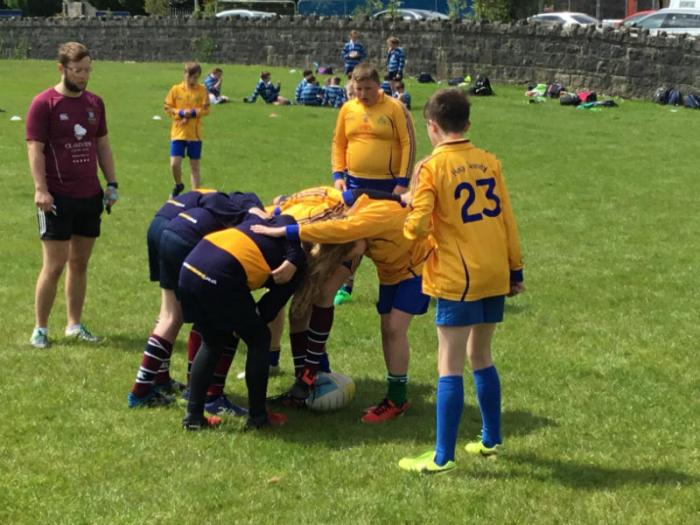 The Holy Trinity rugby team in action at the Model Primary rugby blitz