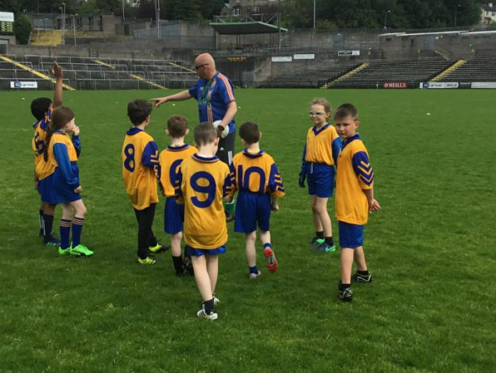 Cyril gives a team talk during the P4 'Mary Cullen Shield' competition
