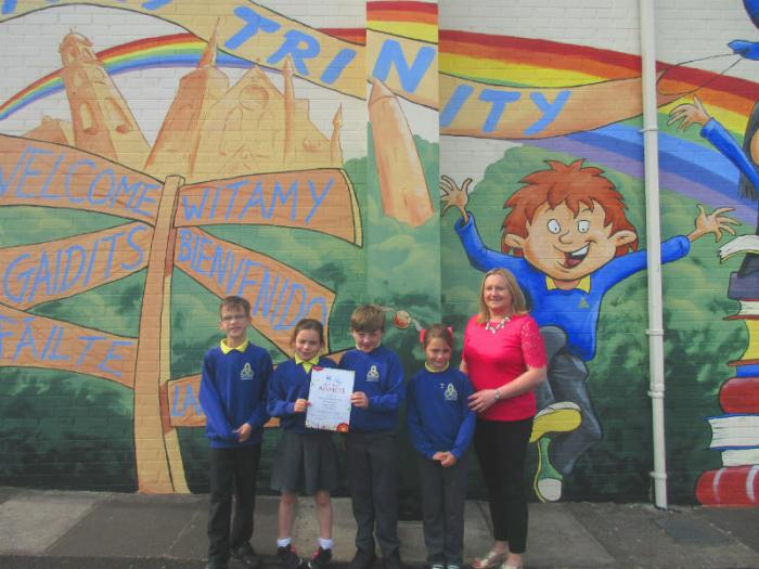 Mrs Gormley with some of the children who helped us achieve the Best Kept School, Western Region, runners up award.