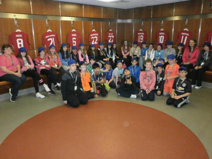 P7s check out the changing rooms at Old Trafford
