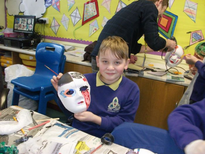 Painting masks in P7 for Children's Mental Health and Well Being week