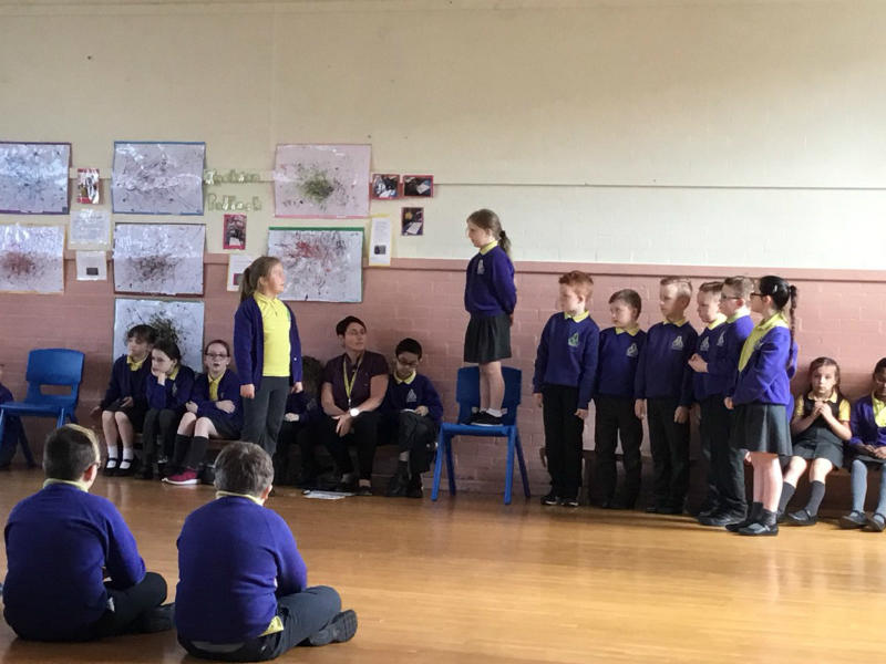 Mrs Mc Girr's p4 class perform their assembly on Zacchaeus and the importance of friendship and forgiveness