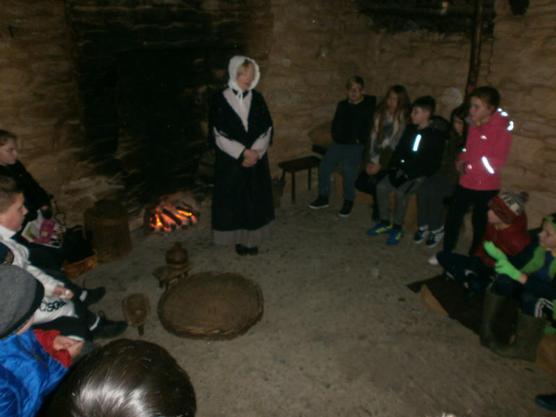 Listening to stories about the new world during the P7 visit to the Ulster American Folk Park