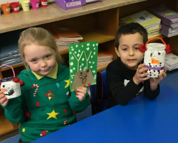 Mrs Maguires P3 class enjoy making Christmas Cards and Snowmen